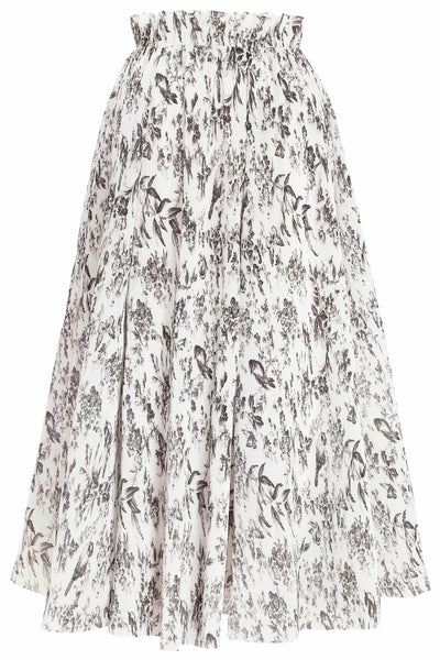 Pleated Midi Skirt in Bird Toile Print