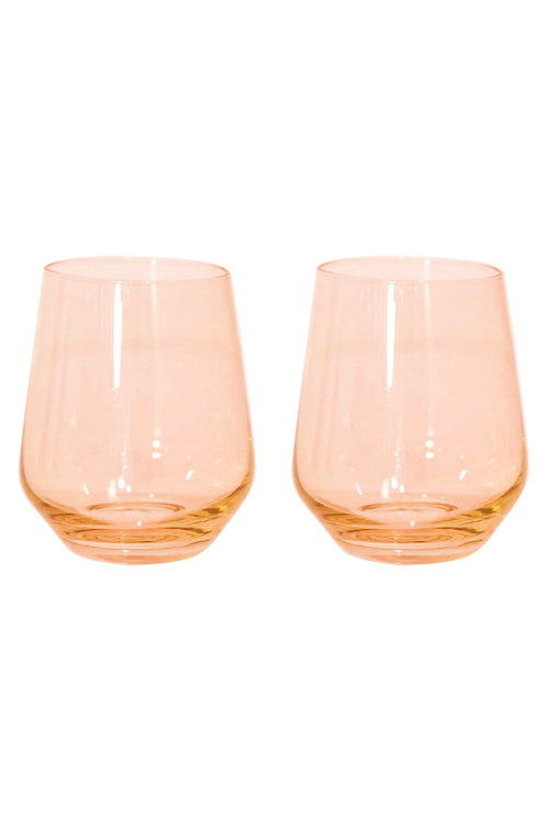 Colored Stemless Wine Glasses in Blush Pink - Set of 2