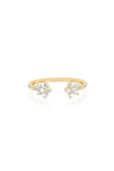 Open Diamond Flower Ring in Yellow Gold