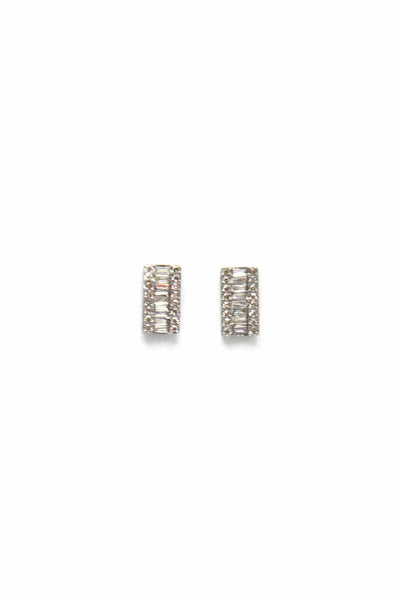 Pave and Baguette Diamond Bar Studs