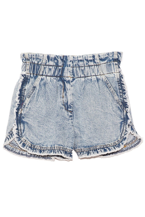 Dax Acid Wash Denim Ruffle Shorts in Blue