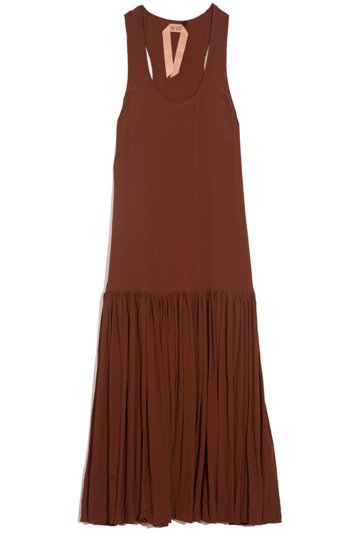 Sleeveless Scoop Neck Dress in Reddish Brown
