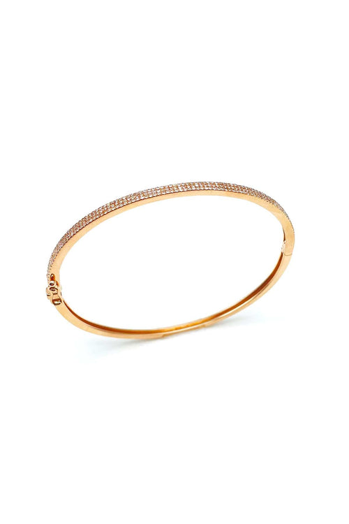 Pave Diamond Bangle in Rose Gold
