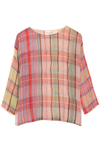 Tartan Organza Silk T-Shirt in Sunstone