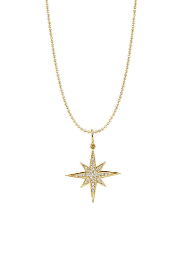 Large Pave Starburst Necklace in Yellow Gold