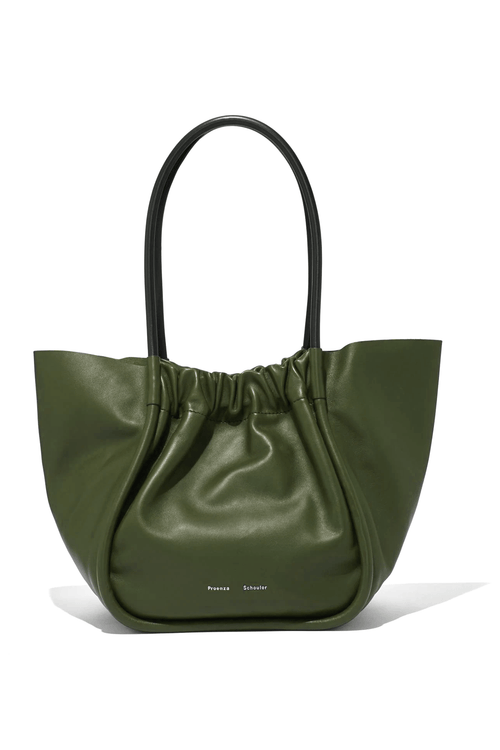 L Ruched Tote in Jade Olive Green