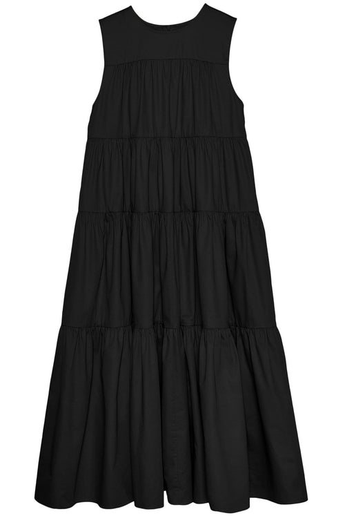 Sleeveless Tiered Midi Dress in Black