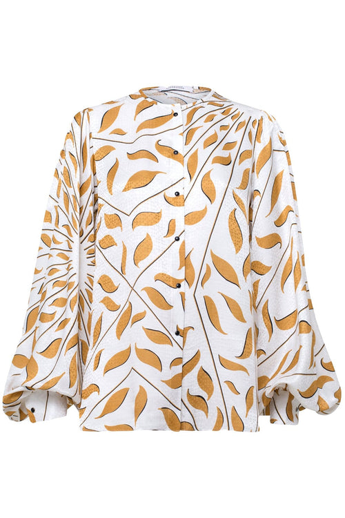 Graphic Ray Blouse in Caramel on White TS