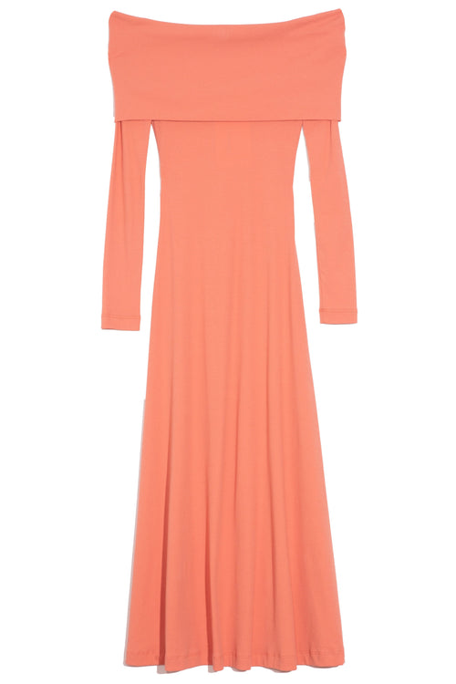 Banded Off Shoulder Dress in Coral