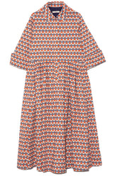 Printed Collared Long Sleeve Dress in Blood Orange