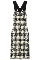 Gingham Jacquard Knit Dress in Black/Cream