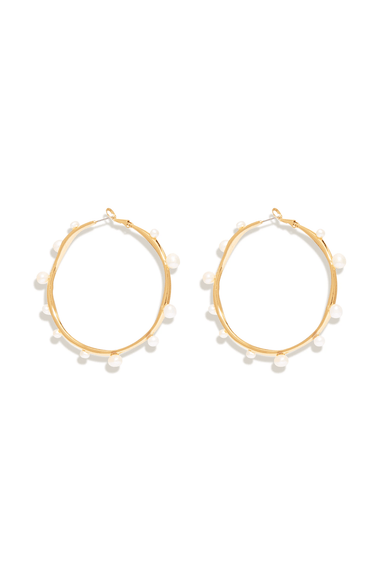 Isla Pearl Hoop in White/Gold