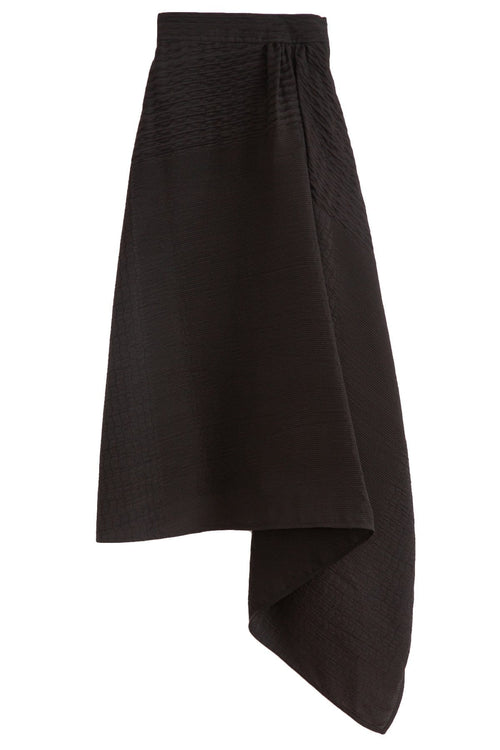 Smocking Draped Midi Skirt in Black