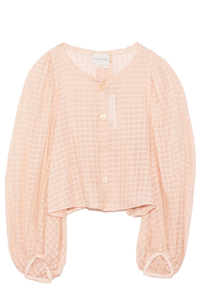 Organza Check Voile Top with Silk Details in Seashell