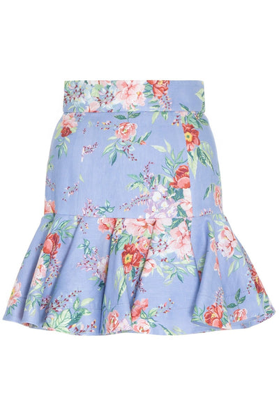 Bellitude Flip Mini Skirt in Cornflower Floral