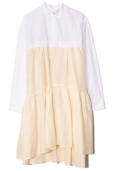Linen Mix Shirt Dress in Cream/White