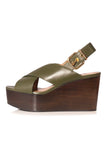Criss Cross Wedge Sandal in Dark Olive