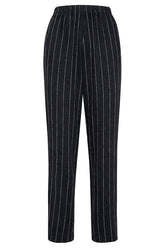 Pinstripe Elasticated Pants in Nero