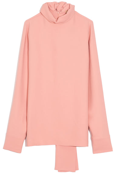 Mock Neck Blouse in Dark Salmon