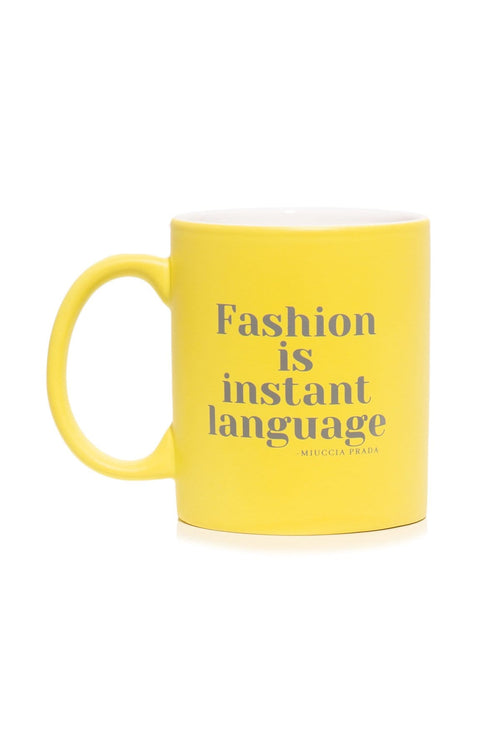 Fashion Is Instant Language Mug in Neon Yellow
