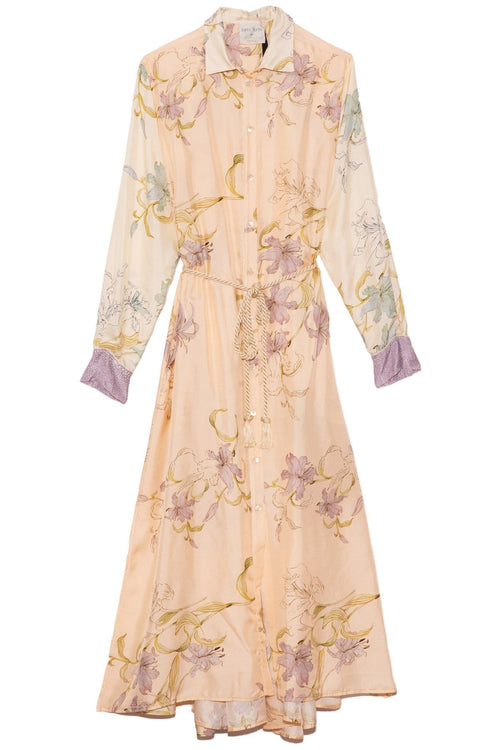 Silk Twill Kaftan Dress in Pesca