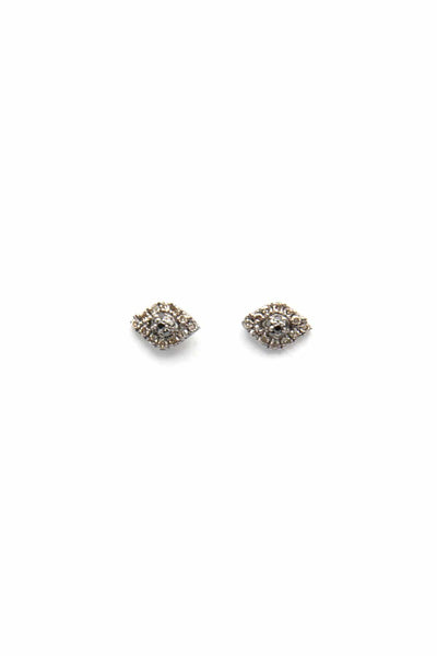 Mini Pave Diamond and Black Spinel Evil Eye Studs