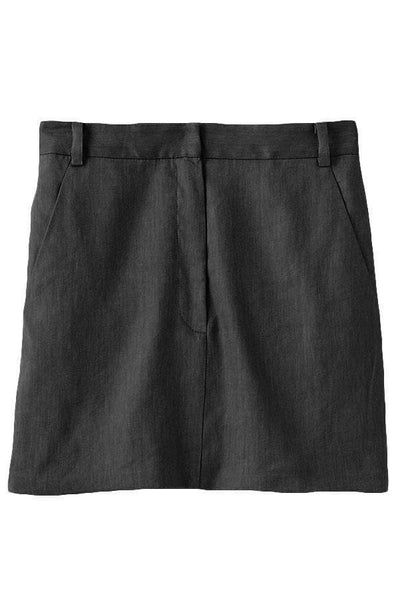 Wesson Linen High Waisted Mini Skirt in Storm Grey