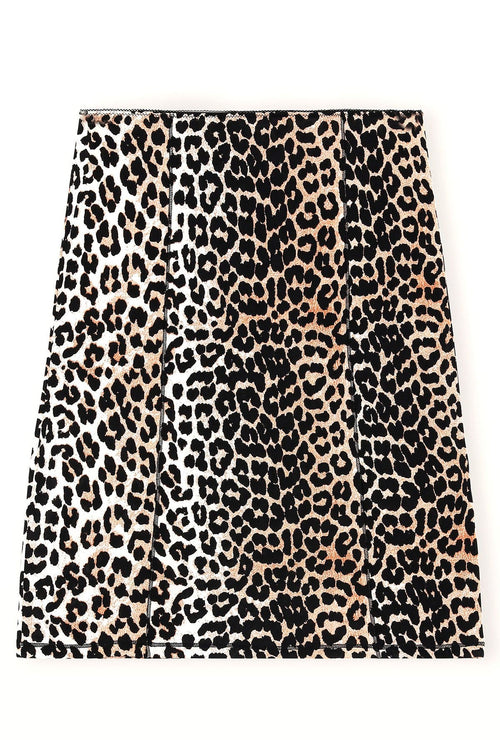 Rayon Slip Skirt in Leopard