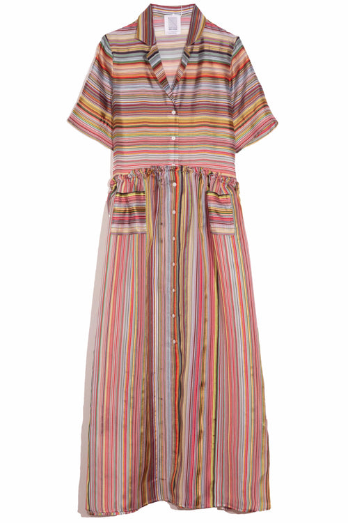 Gathered Shirtdress in Rainbow