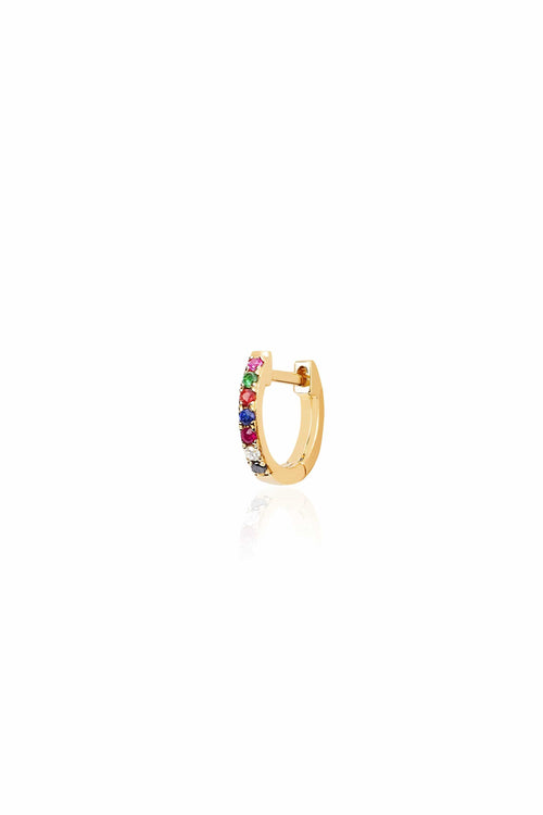 Single Rainbow Mini Huggie Earring in Yellow Gold