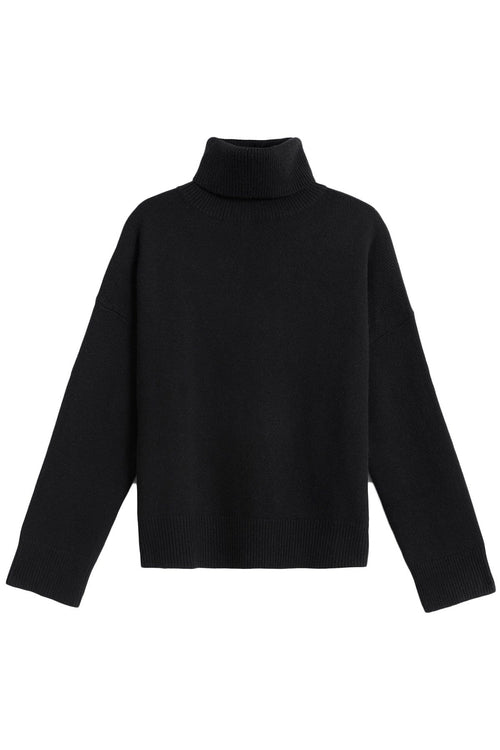 Dropped Shoulder Turtleneck in Black