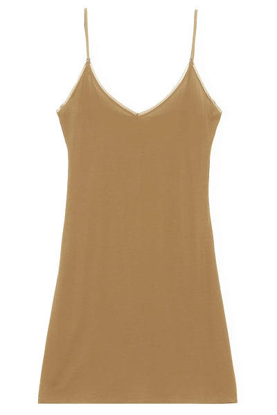 Rayon Slip Dress in Tannin