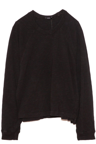 Slub Rib Raglan Sweatshirt in Black