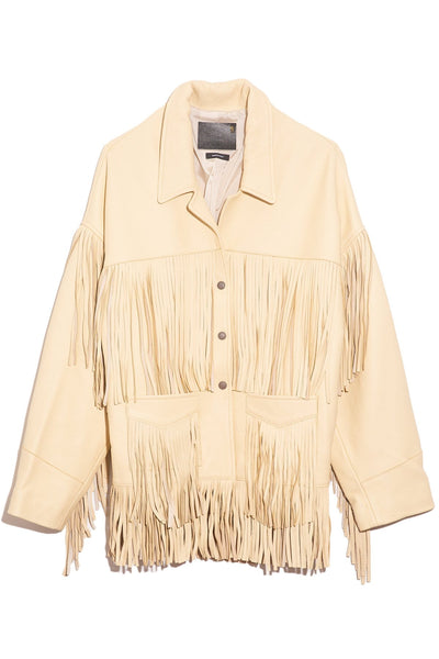 Fringe Jacket in Light Beige