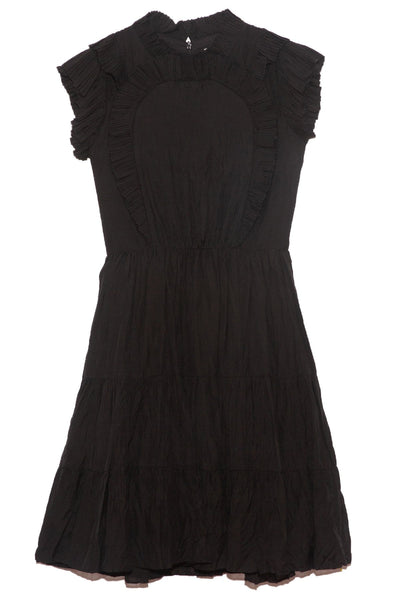 Nadja Flutter Sleeve Dress in Black