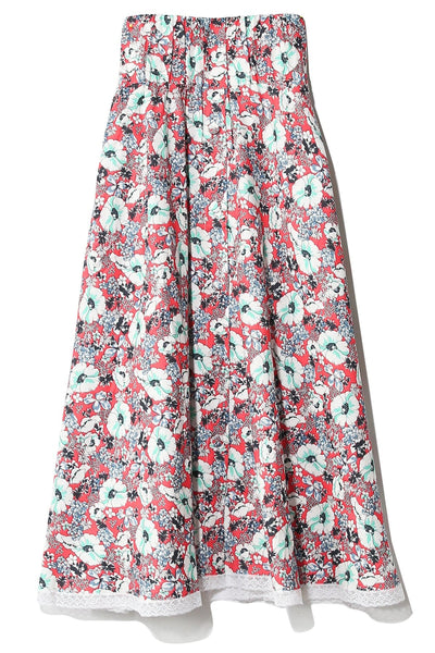 Ornella Skirt in Red/Blue Poppy