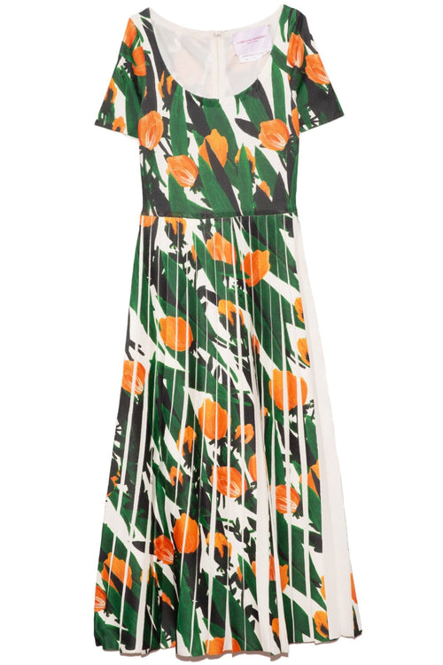 Pleated Knit Dress in Printed Tulips