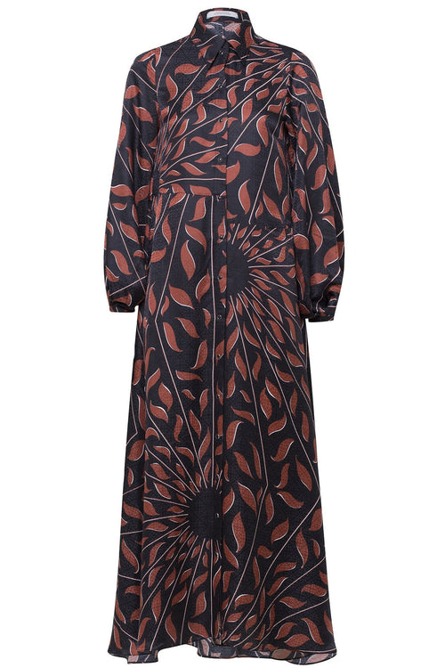 Graphic Ray Dress in Brown on Black Leaves