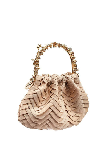 Jacques Plisse Bag in Gold/Beige