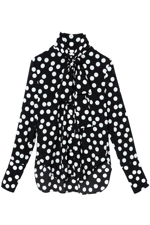 Pussy Bow Button Down Shirt in Black/White