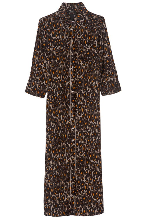 TS 3/4 Sleeve Cowboy Dress In Grey/Orange Leopard