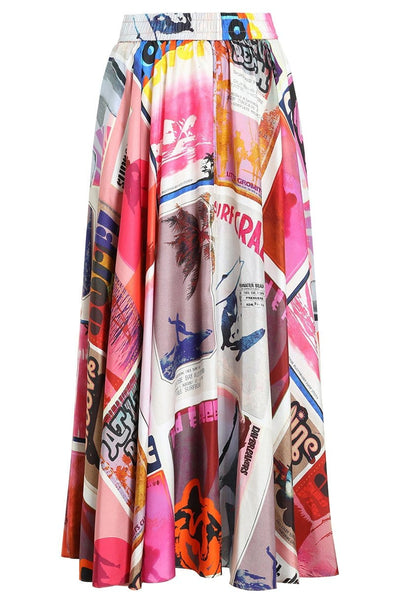 Wavelength Swing Skirt in Pink Poster Print