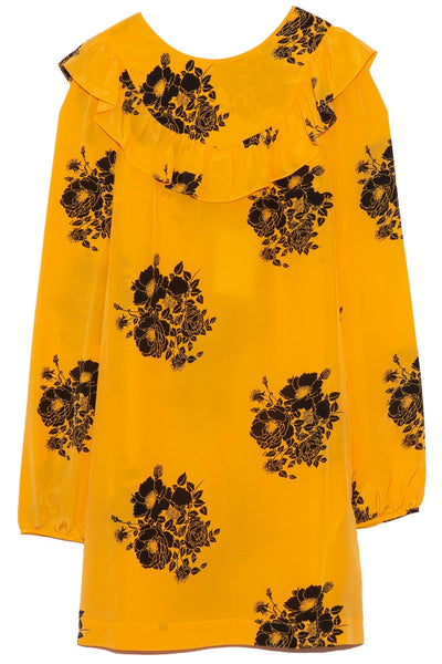 Long Sleeve Bib Dress in Printed Yellow