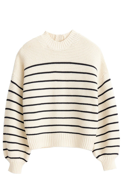 Button-Back Crewneck Sweater in Ivory/Dark Navy Stripe