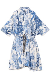Botanical Popeline Printed Dress in Ivoire/Blue