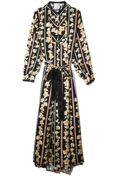 Guadaloupe Fluid Jacquard Belted Kaftan Dress in Nero