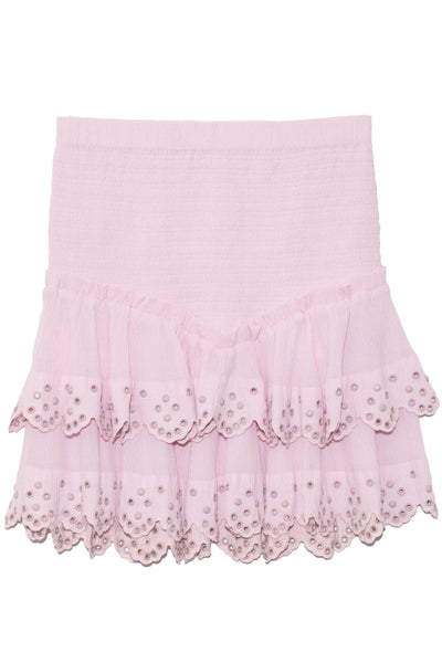 Landora Studded Crepe Skirt in Light Pink
