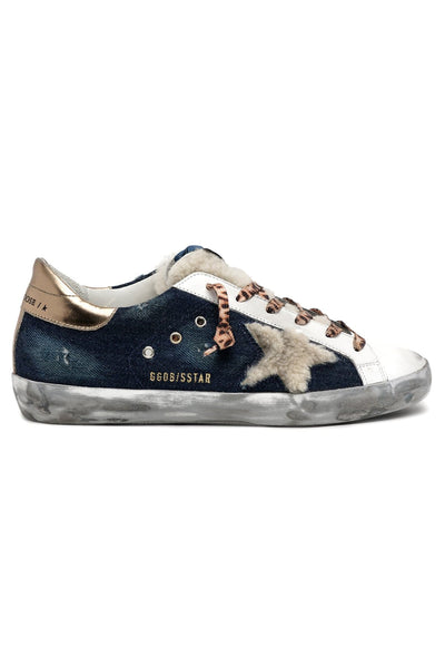 Superstar Sneaker in Denim Blue/Beige/White/Gold
