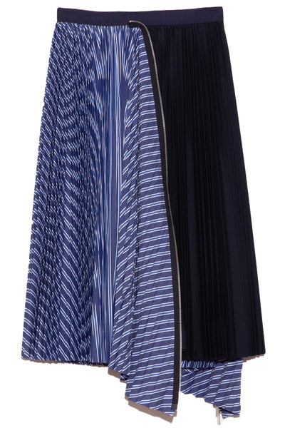 Cotton Poplin Zipper Skirt in Random Stripe