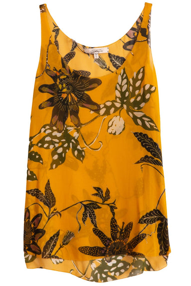 Floral Transparencies Top in Orange Passiflora TS